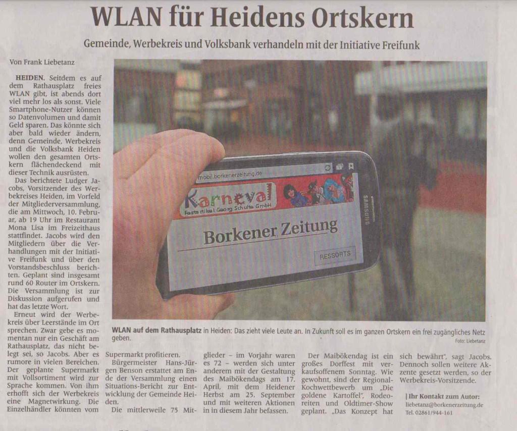 """""""WLAN in Heiden"""" in der Borkener Zeitung vom 08.02.2016"""